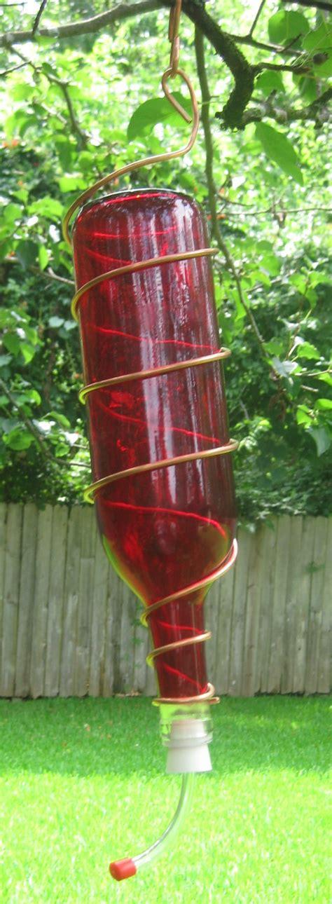 wine bottle hummingbird feeder by mrlenterprises on etsy