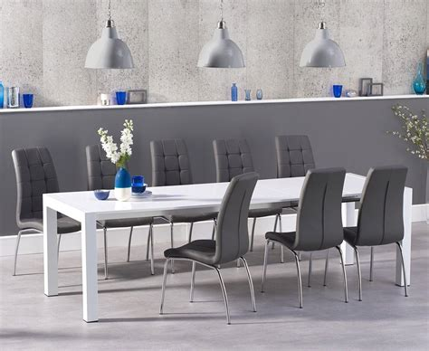 extra large white gloss dining table  grey chairs