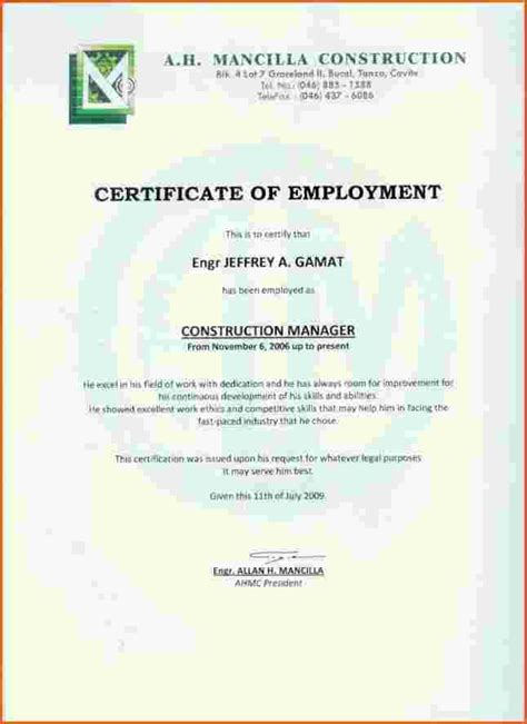 Certification Letter Employer certificate work certificate sample employment certificate