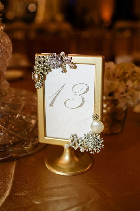 Gold & Crystal Frame Table Numbers affair remember.com