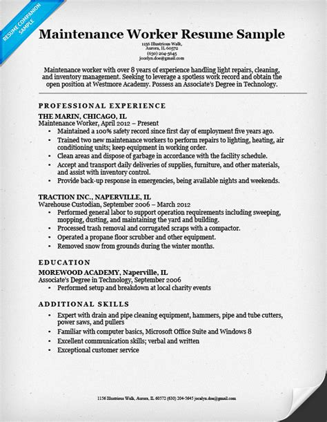 resume sles for maintenance worker maintenance worker resume sle resume companion