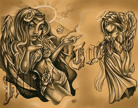 tattoo flash of angels angel devil flash art by allantorres on deviantart