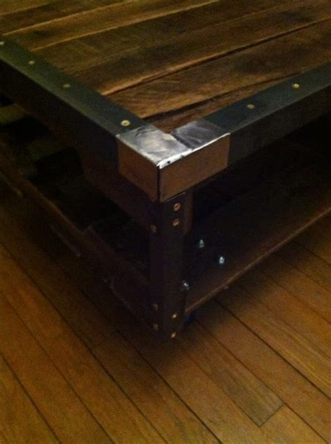 diy pallet coffee table  metal edging pallet