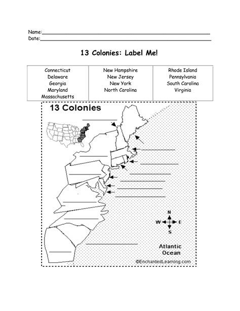 13 Colonies Map Worksheet Pictures to Pin on Pinterest