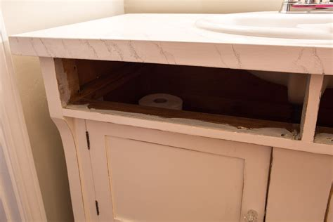 Attach Sink To Vanity by How To Repurpose A Sideboard Into A Sink Vanity In