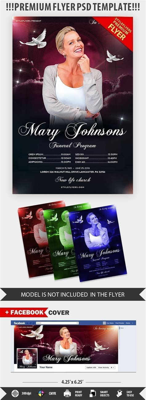 Funeral Program Psd Flyer Template 22807 Styleflyers Funeral Flyer Template