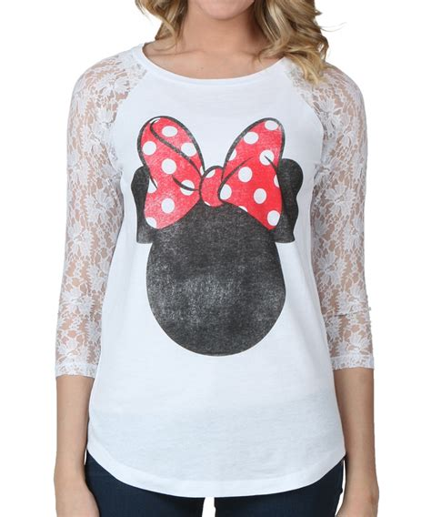 Minnie Blouse womens minnie mouse lace sleeve t shirt