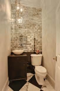 Small Powder Bathroom Ideas Mirrored Subway Tiles In Small Powder Room Interiors Designed