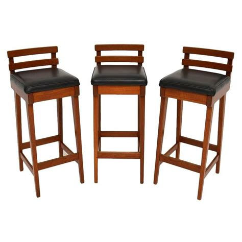 danish bar stools set of three danish teak bar stools by erik buch for