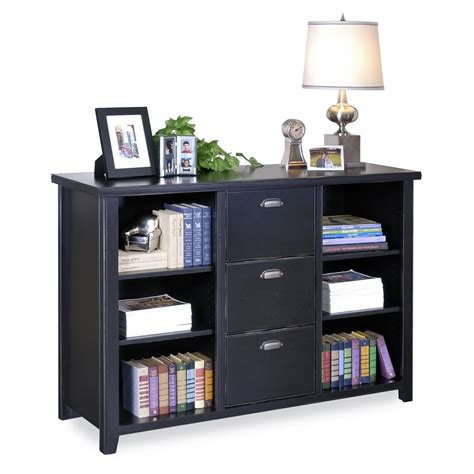 black color painted oak file cabinet with hutch and 3