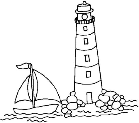 boat and lighthouse drawing download online coloring pages for free part 22