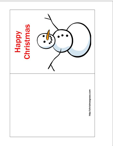 free greeting card templates free printable happy card with snowman