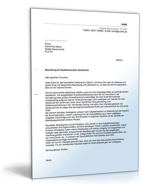 Bewerbung Anschreiben Muster Kaufmannische Angestellte Anschreiben Bewerbung Kaufm 228 Nnischer Assistent Kaufm 228 Nnische Assistentin De Bewerbung