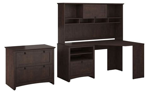 Cherry Corner Desk With Hutch Buena Vista Cherry Corner Desk With Hutch Lateral File From Bush Buv007msc Coleman