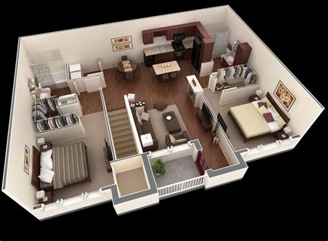 Two Bedrooms | 50 two quot 2 quot bedroom apartment house plans architecture