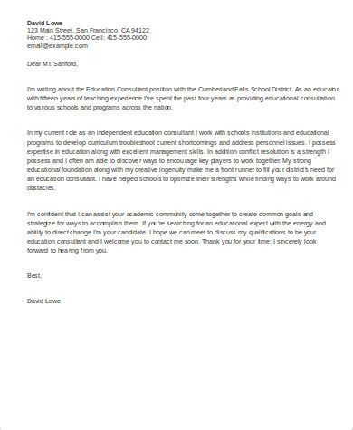 sample education cover letter  examples  word