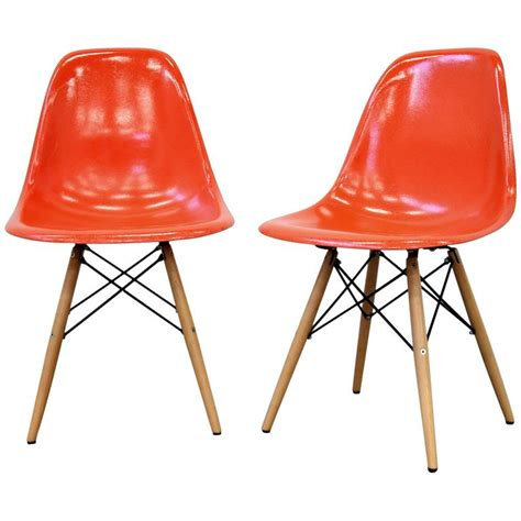 eames fiberglass chair markings pair of eames herman miller orange fiberglass dowel chairs