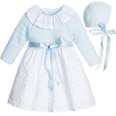 Dress Babyblues Set foque baby pale blue dress bonnet set
