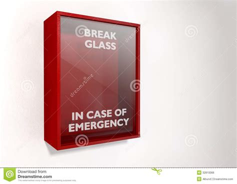 In Of Emergency Glass Template in of emergency box royalty free stock