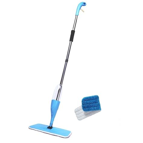 easy floor cleaning microfiber cloth flat spray mop blue