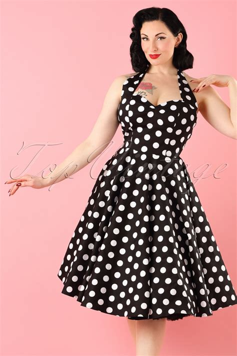 50s swing fashion 50s meriam polkadot swing dress in black and white