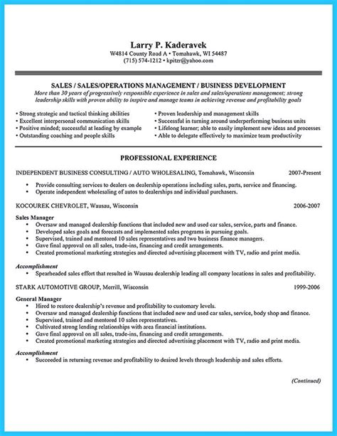 professional accounting resume sles resume for a car salesman