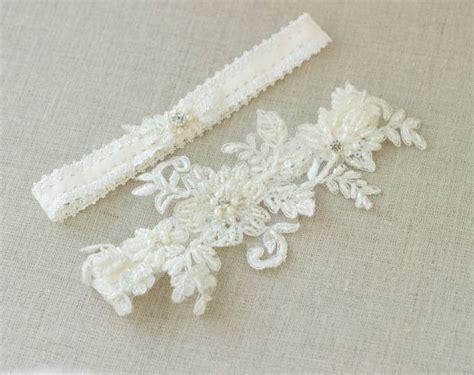 Wedding Garter Sets by Wedding Garter Set Ivory Bridal Lace Garter Set By Leflowers