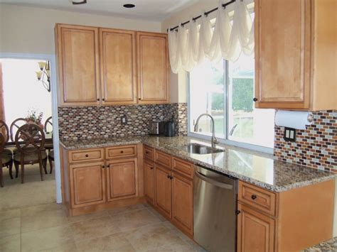 Small Kitchen Cabinet Ideas by Light Brown Kitchen Cabinets Sandstone Door