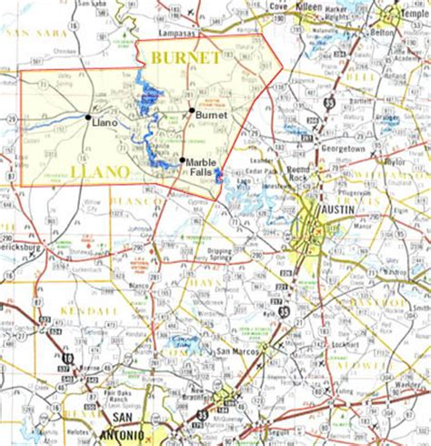 highland lakes texas map central texas hill country map pictures to pin on pinsdaddy