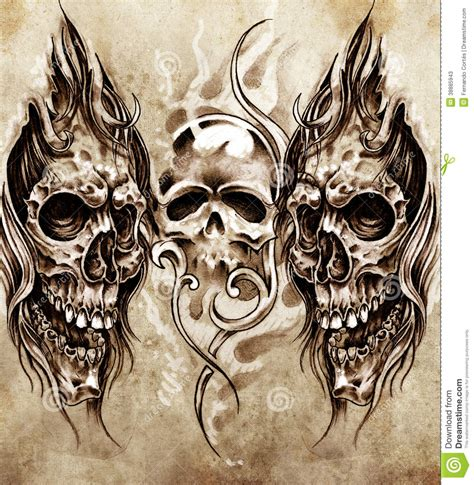 sketch of tattoo art skulls stock illustration image