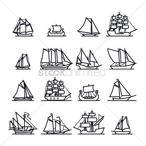 sailboat icon free vector set of sailboat icons vector image 2027021 stockunlimited