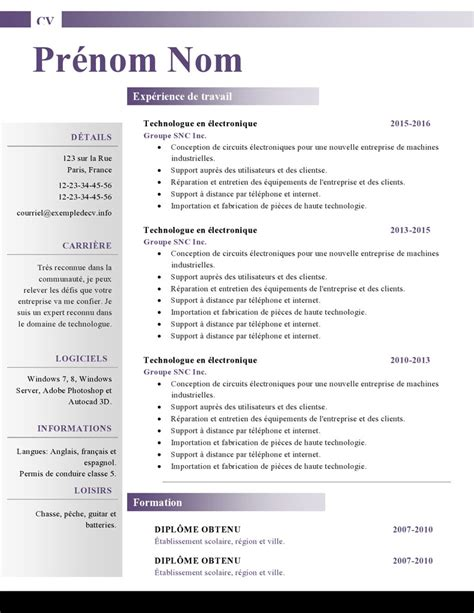 Modele Cv Sous Word by Modele Cv Word En Francais Document