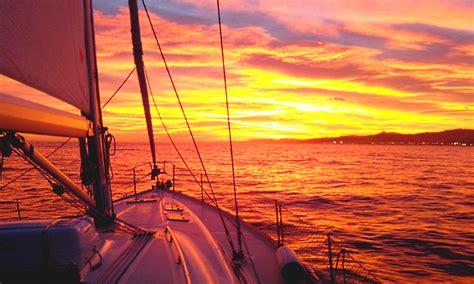 Late Sunset Sail Boat Sunset Sunset Sailing Barcelona Sailing Charter