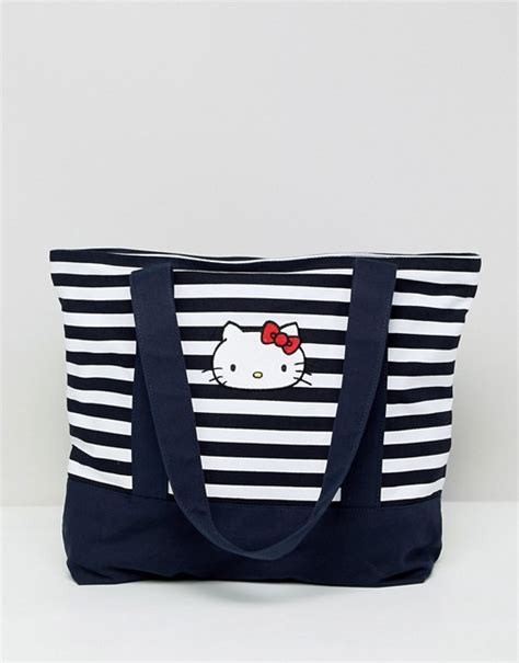 kitty  asos design stripe tote bag  embroidery