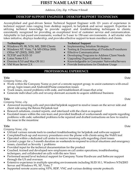resume format for desktop support engineer technical support engineer resume sle template