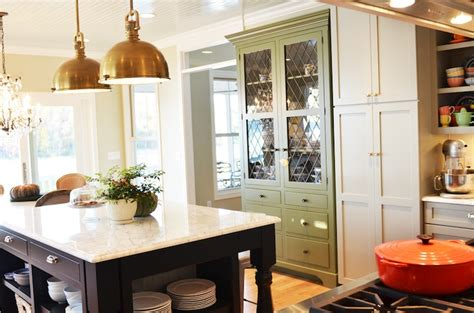 house beautiful ocean inspired kitchen urban grace brass island pendants french kitchen benjamin moore