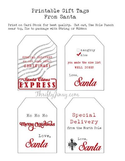 printable santa gift tags and other free santa printables