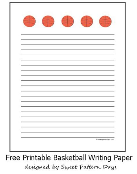 printable writing paper a4 basketball lined writing paper a4 stationery