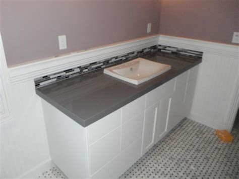 gray cabinets with white countertops bathroom gray ceasarstone countertop on white cabinets stocker tile