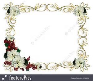 templates christmas border white poinsettia gold frame