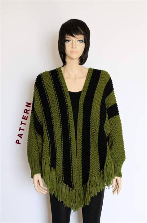 knitted cape poncho knit poncho cape pattern shawl pattern striped knitted poncho