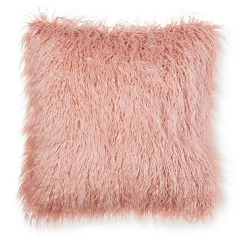 Pink Fur Pillow by Threshold Pink Faux Mongolia Fur Pillow 18 22
