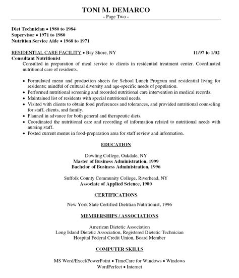 resume words for food service food service assistant food