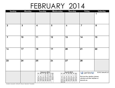 february 2014 calendar template image gallery feb 2014 calendar