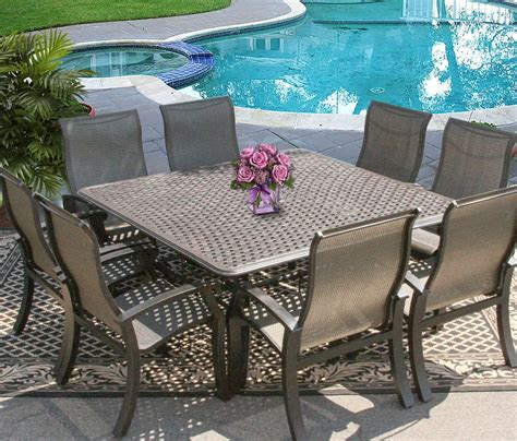 Barbados Sling Outdoor Patio 9pc Dining Set For 8 Person 8 Person Patio Dining Set