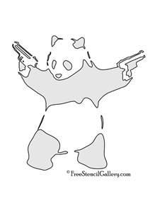 Banksy Stencil Templates by Banksy Panda With Guns Stencil Stencils Sts