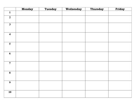work day planner template 7 best images of 5 day work week monthly calendar