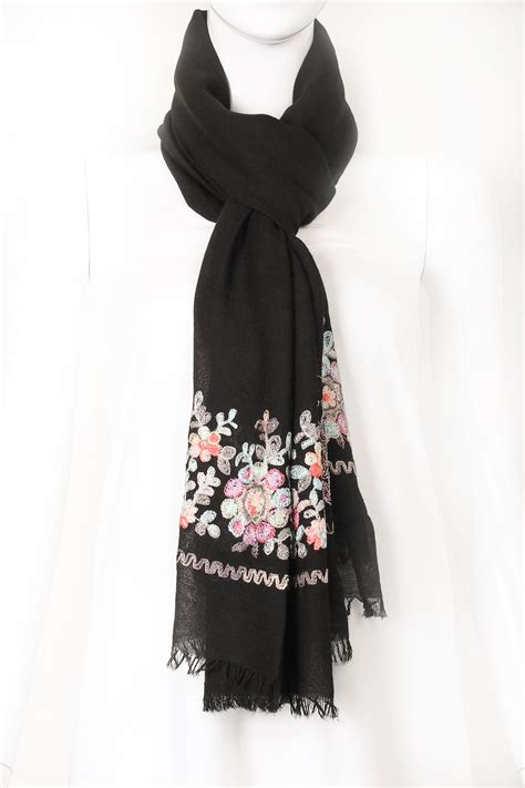 Embroidered Scarf embroidered flower oblong scarf scarves