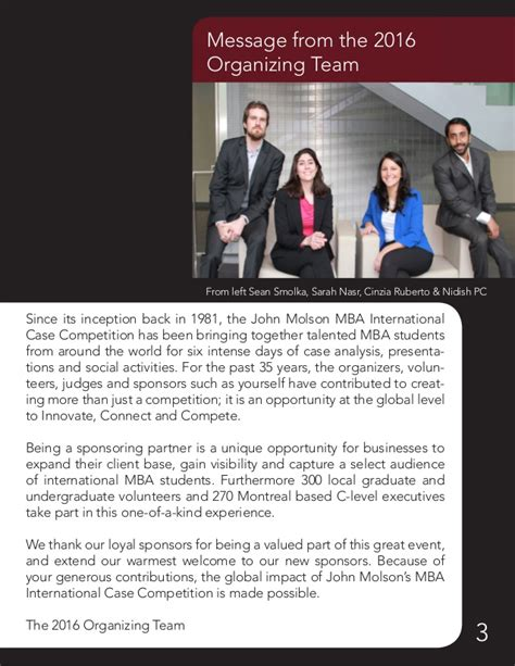 Johns Global Mba Program by Molson Mba International Competition Sponsorship