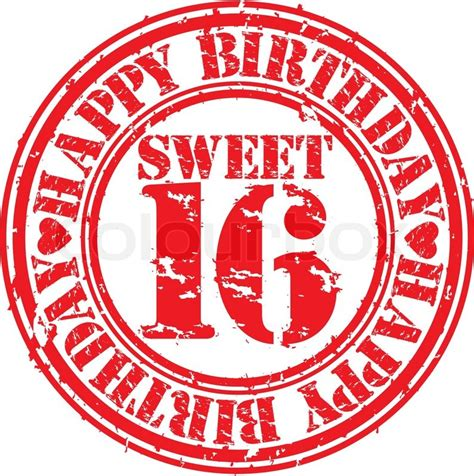 16 in years grunge 16 years happy birthday rubber st vector illustration stock vector